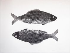 superfine-etsy:  Fish Print. A fine Art linocut of two fish.