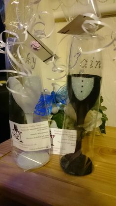 Glitter Bride and groom champagne flutes, great wedding gifts.   Available at http://www.gotshop.co.uk/seller-profile/sarah-marsden/