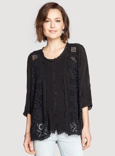 Johnny Was: Olivia Scallop Panel Blouse