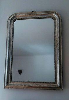 Miroir ancien de style Louis Philippe, miroir dit de cheminée doré à la feuille d'argent