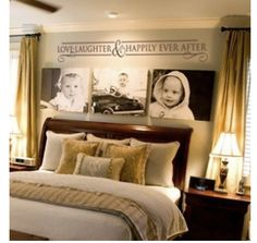 i like the canvas pictures behind the bed idea