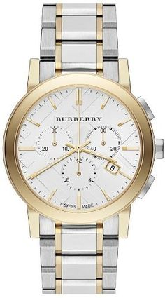 Women's Wrist Watches - Burberry The City TwoTone Chronograph Unisex Watch BU9751 * See this great product.