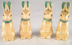 Four vintage Noritake Art Deco rabbit salt and pepper shakers.  Insanely cute.
