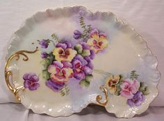 Vintage Limoges Dresser Tray Decorated with Hand Painted Pansies vaniti, dresser tray, paint pansi, antique china trays
