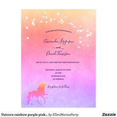 Unicorn rainbow purple pink wedding invitation postcard