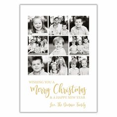 Multiple Photo Christmas Card New Year Greeting Cards, New Year Greetings, Christmas Photo Cards, Christmas Photos, Happy New Year Love, Holiday Wishes, Print Packaging, Diy Cards, White Envelopes