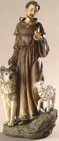 Saint Francis With Wolf And Lamb Statue