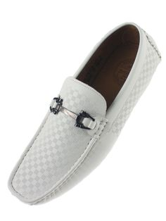 Amali Men's White Driving Moccasin Loafer in Square Patterned Smooth SQ-Roland #Amali #DrivingMoccasins