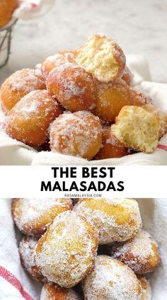 Easy Malasadas Recipe, Malasadas Recipe Hawaii, Portuguese Donuts Recipe, Portuguese Malasadas Recipe, Portuguese Bread, Sweet Desserts, Delicious Desserts, Donut Recipes, Cooking Recipes