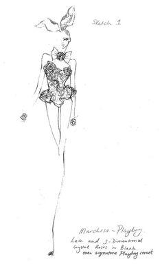 Fashion illustration - couture fashion design sketch // Marchesa