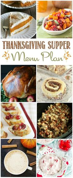 Make holiday menu planning easy with this Thanksgiving Supper Menu Plan! Post includes 12 recipe links for fuss-free menu planning!
