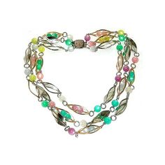 Vintage Spring Fashion Caged Pastel Moonglow Beads Necklace With Sterling Clasp