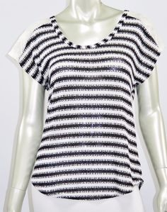 WOMENS CAREER WORK CASUAL SHORT SLEEVE STRIPED KNIT TOP BLACK WHITE S M L  #B_ENVIED #Blouse #ResortCasualCareerWork