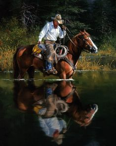 Cooling off Period - The Old West Art of Jack Sorenson Cowboys And Angels, Real Cowboys, Westerns, Cowboy Pictures, Cowgirl And Horse, Western Riding, Trail Riding, West Art, Le Far West