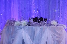tree+lights+blue+and+white | The beautiful pipe and drape with blue lights and garlands twinkled ...