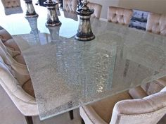 Cracked Glass Dining Room Table   Shattered Glass Table Top - contemporary - dining room - other metro ...