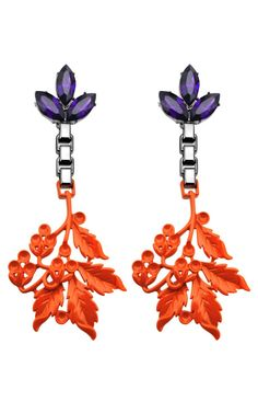 Crystal and Neon Leaf Earrings by Mawi