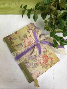 Sage Green and Lilac Wedding Guest Book Vintage Victorian