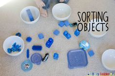 Sorting Objects is a terrific math activity for toddlers. Toddlers sort objects based on similarities not color in this higher level learning game. Math Activities For Toddlers, Sorting Activities, Preschool Games, Activity Games, Toddler Preschool, Math Games, Baby Sensory, Math Skills, Early Childhood