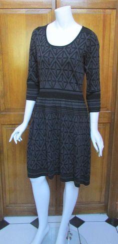 Calvin Klein Black & Gray Geometric Print 3/4 Sleeve  Sweater Dress  NWT Sz M #CalvinKlein #SweaterDress #WeartoWork