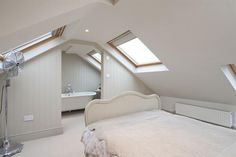 loft conversions The bedroom opens out on an en-suite. I can imagine my upstairs looking just like this with the bedroom opening onto the dressing area/wardrobe/loo. Attic Master Bedroom, Attic Bedroom Designs, Attic Bedrooms, Bedroom With Ensuite, Bedroom Loft, Loft Conversion Plans, Loft Conversion Bedroom, Loft Conversions, Loft Conversion With Bathroom