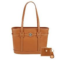 Dooney & Bourke Pave Leather logo tote (saddle tan)