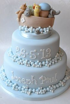 Noah's Ark Christening Cake - For all your cake decorating supplies, please… Baby Cakes, Cupcake Cakes, Torta Baby Shower, Noahs Ark Cake, Choc Ganache, Baby Boy Baptism, Cake For Baptism Boy, Christening Cake Boy Simple, Baby Boy Christening Decorations