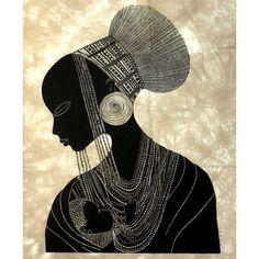 Fair Trade African Art 'Zulu Mother' Screen Print by Heidi Lange Decor Gifts Zulu, Costume Africain, African Art Paintings, Art Africain, Africa Art, Black Artwork, Black Women Art, African American Art, African Culture
