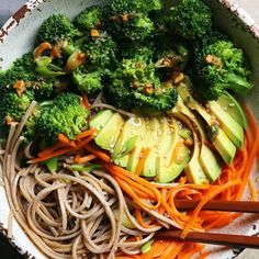 One of my favs...Soba Noodle Buddha Bowl. Soba Noodles, Broccoli, Carrots, Avocado , and a damn good sauce! Great anytime of the year! Recipe archived on the blog...just search Soba Noodles. ☺ #vegan #feedfeed #foodandwine #rslove #cookcl #sobanoodles #buddhabowl #inseasonnow #thenewhealthy #mywilliamssonoma #salad #contest #sunbasket #organicmoments #avocado #howiholiday #meatlessmonday