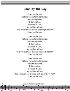 Down by the Bay Lyrics, Printout, MIDI, and Video