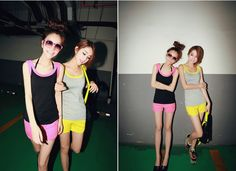 Casual Fluorescent Color Sleeveless Tracksuit Yellow $7.30