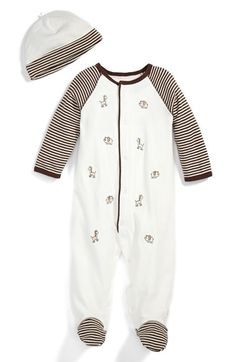 Free shipping and returns on Little Me 'Safari Stripe' Footie & Hat (Baby Boys) at Nordstrom.com. Striped raglan sleeves  detail an adorable footie embroidered with sweet little animals and paired with a coordinating beanie to keep your little one's head cozy.