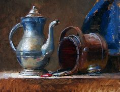 the turpentine cup by turningshadow on DeviantArt Still Life Drawing, Still Life Oil Painting, Still Life Art, Art Watercolor, Watercolor Portraits, Still Life Flowers, Object Drawing, Russian Painting, Academic Art