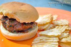 Grilled Turkey Ranch Burger recipe (my husband's famous recipe). Ground turkey, spices & veggies