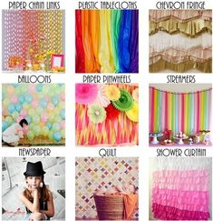 10 DIY Backdrop Ideas for a Party Photo   Booth!!! use tacky, cheap tablecloth