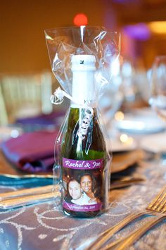 Our wedding favors mini champagne bottles.