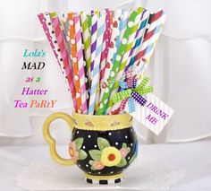 MAD HATTER TeA PaRtY 100 Paper Party Straws 100 Vibrant mix of Stripes & Dots Alice in ONEderland, Bridal Tea, Disney, Storybook, Fairytale via Etsy