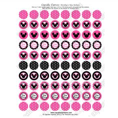 Minnie Mouse Pink Printable Hershey's kiss Labels Stickers DIY