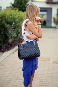 electric blue, layered skirt