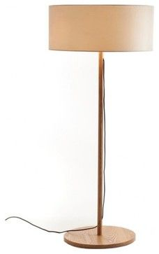 Drum Fabric Shade Modern Wooden Floor Lamp Lamps