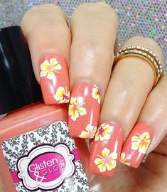 Hawaiian vacation manicure by the fabulous @mrsluckyboy85 using our Hibiscus Nail Stencils found at snailvinyls.com