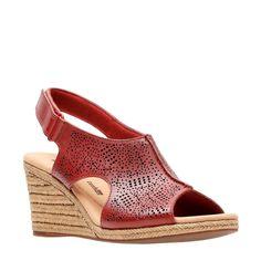c1d4e7f85a8e Clarks Women s Lafley Rosen Medium Wide Espadrille Wedge Sandals (Red)