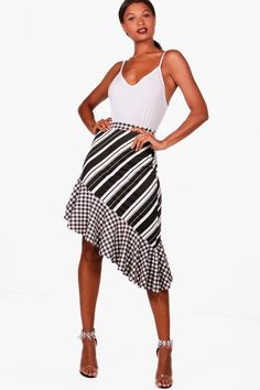 Dina Gingham + Stripe Mix Ruffle Hem Midi Skirt