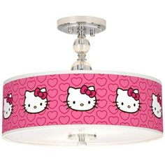 Hello Kitty Hearts Wide Semi-Flush Ceiling Light