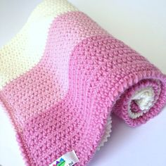 Pretty Coconut Ice Crochet Pram Blanket -Wool- Pinks & Off White ~ free pattern