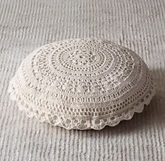 RH Baby & Child's Crocheted Floor Pillow - Oatmeal:Crocheted by hand from cotton yarn, and finished with a classic scalloped edge, our crocheted pillow brings cushioned comfort to the floor. Crochet Home, Love Crochet, Beautiful Crochet, Pillow Lounger, Pillow Mat, Crochet Cushions, Crochet Pillow, Crochet Floor Cushion, Baby Pillows