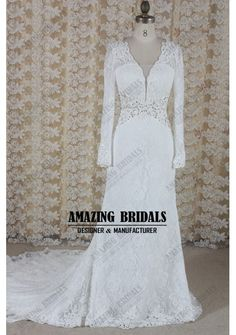 Sexy long sleeves mermaid Lace wedding dress wedding gown with keyhole back, beach lace wedding dress wedding gown