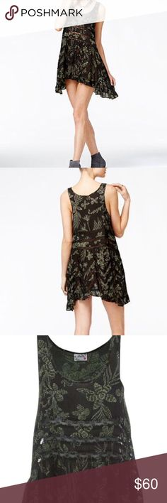 """Free People voile and lace printed slip dress New with tags, Free People printed voile and lace trapeze slip dress. This combo sold out online. Black and green listed as """"midnight combo"""" Free People Dresses Mini"""