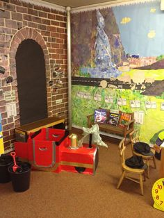 Train station role play Play Corner, Corner House, Transport Topics, People Who Help Us, Early Years Classroom, Community Helpers Preschool, Role Play Areas, School Murals, School Displays