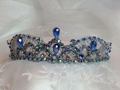 OOAK Silver and blue ballet headpiece. Bluebird headpiece.